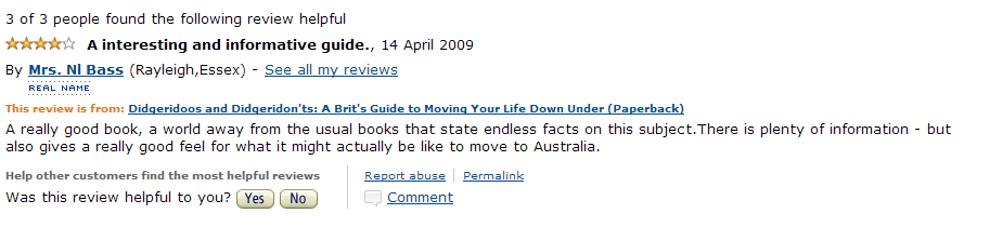 Amazon Review April 3 2009